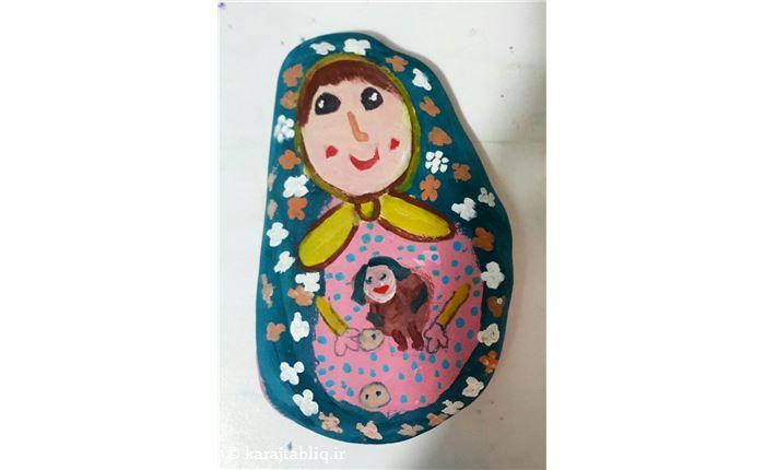 نقاشی روی سنگ از هنرجوی7ساله