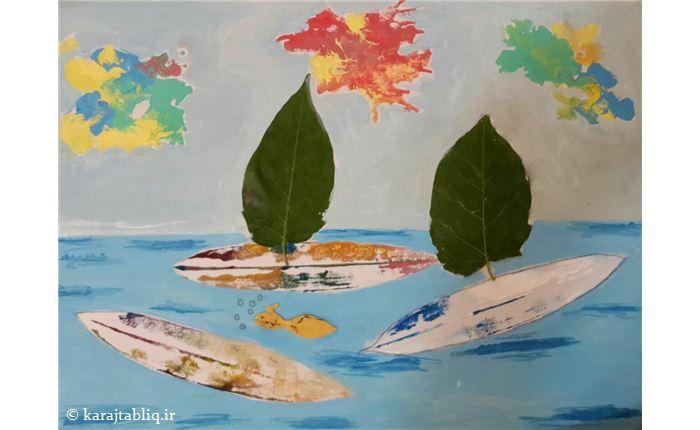 نقاشی روی بوم از هنرجوی7ساله